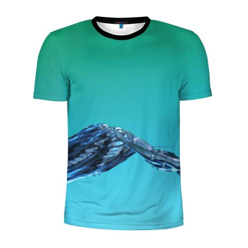 Мужская футболка 3D спортивная Зеленая вода