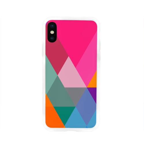 Чехол для Apple iPhone X силиконовый глянцевый  Фото 01, Разноцветные полигоны