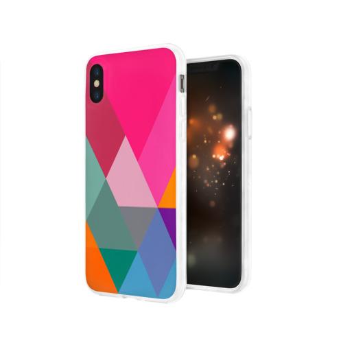 Чехол для Apple iPhone X силиконовый глянцевый  Фото 03, Разноцветные полигоны