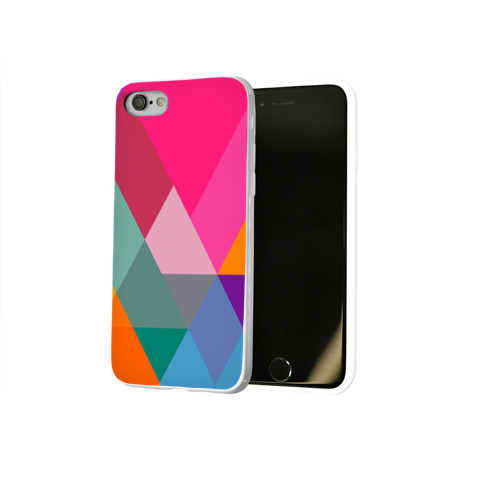 Чехол для Apple iPhone 8 силиконовый глянцевый  Фото 02, Разноцветные полигоны