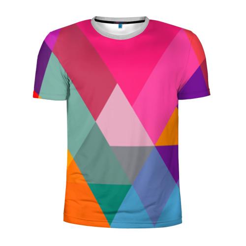 Мужская футболка 3D спортивная Разноцветные полигоны
