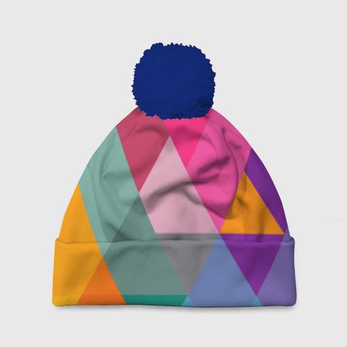 Шапка 3D c помпоном Разноцветные полигоны