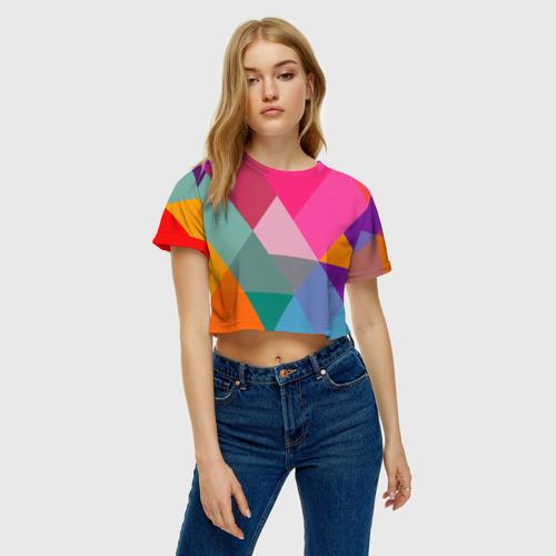 Женская футболка 3D укороченная  Фото 04, Разноцветные полигоны