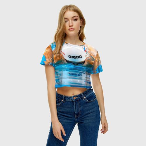 Женская футболка 3D укороченная  Фото 04, Пловец