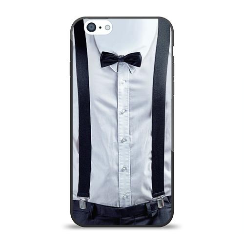 Чехол для Apple iPhone 6 силиконовый глянцевый Рубашка с подтяжками от Всемайки