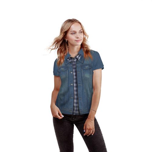 Женская рубашка поло 3D  Фото 03, Джинсовка