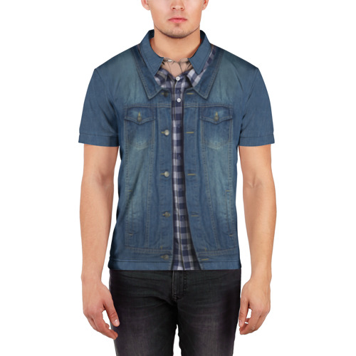 Мужская рубашка поло 3D Джинсовка