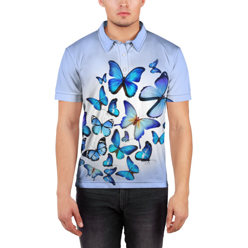 Мужская рубашка поло 3D  Фото 03, Бабочки