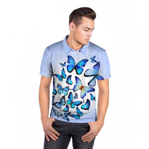 Мужская рубашка поло 3D  Фото 05, Бабочки