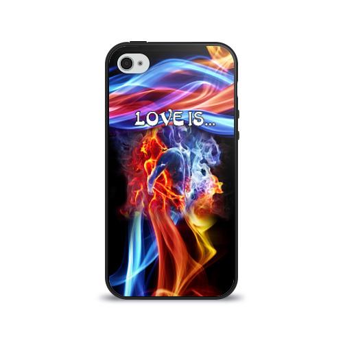 Чехол для Apple iPhone 4/4S силиконовый глянцевый Поцелуй двух стихий от Всемайки