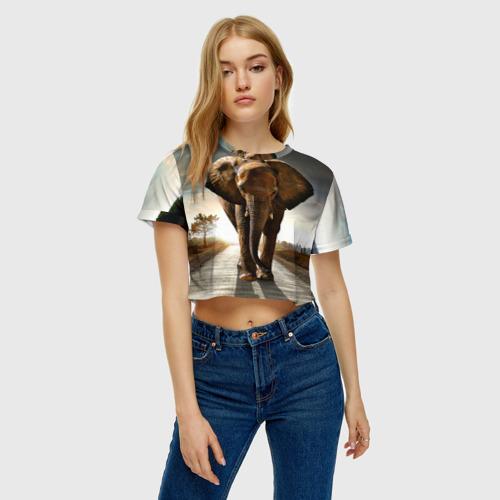 Женская футболка 3D укороченная  Фото 04, Дикий слон