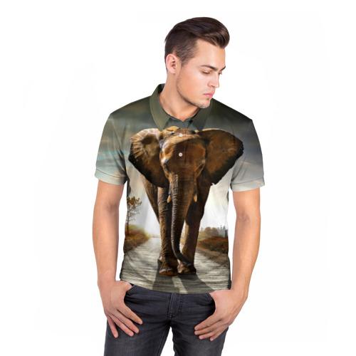 Мужская рубашка поло 3D  Фото 05, Дикий слон