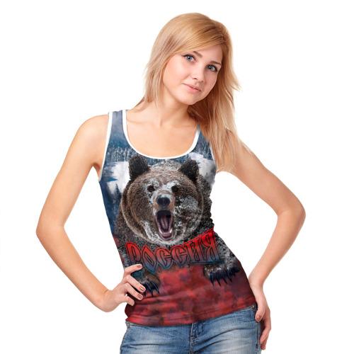 Женская майка 3D  Фото 05, Русский медведь