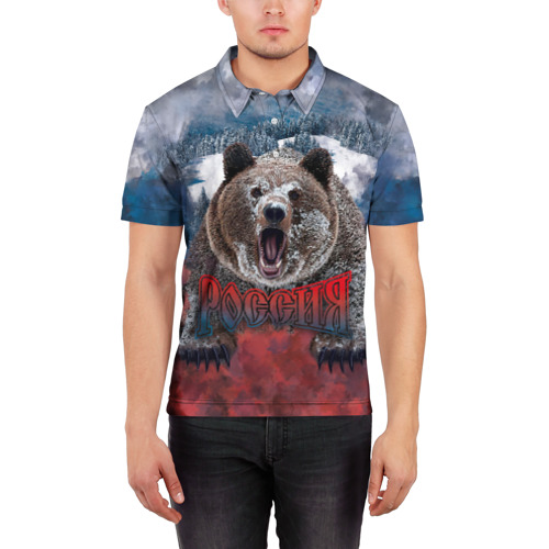 Мужская рубашка поло 3D  Фото 03, Русский медведь