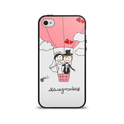 Чехол для Apple iPhone 4/4S силиконовый глянцевый Молодожены на воздушном шаое от Всемайки