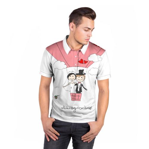 Мужская рубашка поло 3D  Фото 05, Молодожены на воздушном шаое