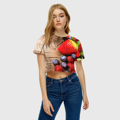 Женская футболка 3D укороченная  Фото 04, Ягодный микс