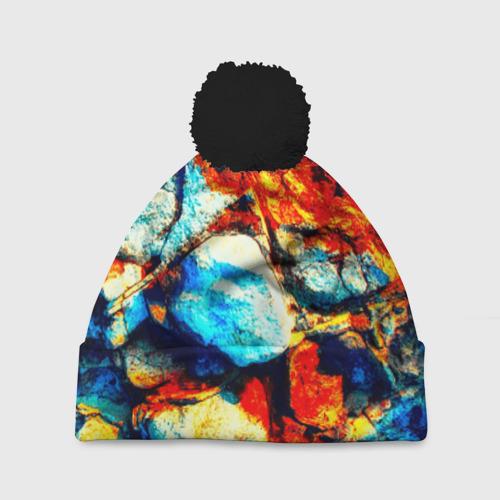 Шапка 3D c помпоном Камень