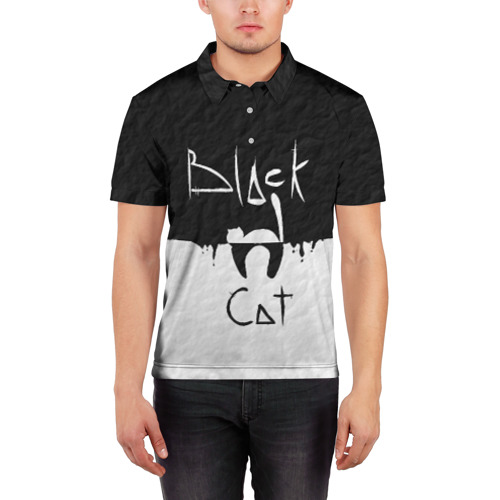 Мужская рубашка поло 3D  Фото 03, Black cat