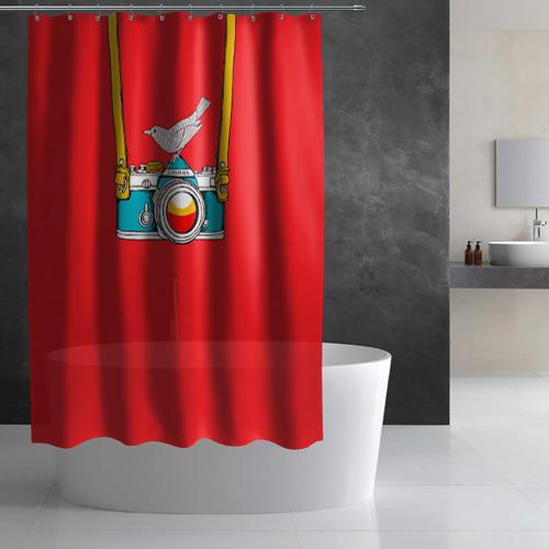 Штора 3D для ванной  Фото 02, Фотоаппарат с птичкой