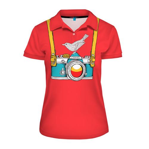 Женская рубашка поло 3D Фотоаппарат с птичкой