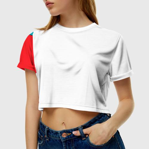 Женская футболка 3D укороченная  Фото 01, Фотоаппарат с птичкой