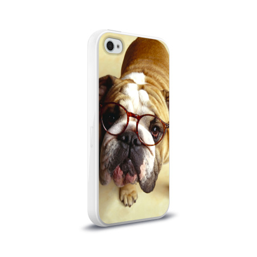 Чехол для Apple iPhone 4/4S силиконовый глянцевый  Фото 02, Бульдог в очках