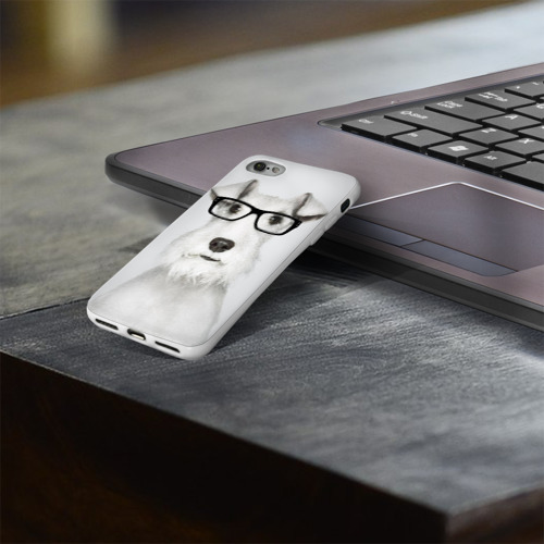 Чехол для Apple iPhone 8 силиконовый глянцевый  Фото 03, Собака в очках