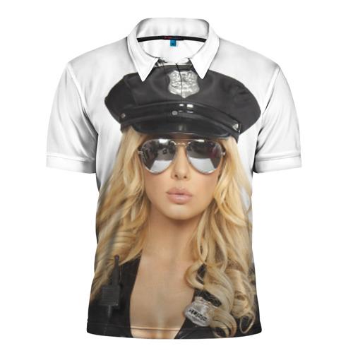 Мужская рубашка поло 3D  Фото 01, Девушка полицейский