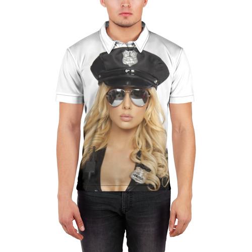 Мужская рубашка поло 3D  Фото 03, Девушка полицейский
