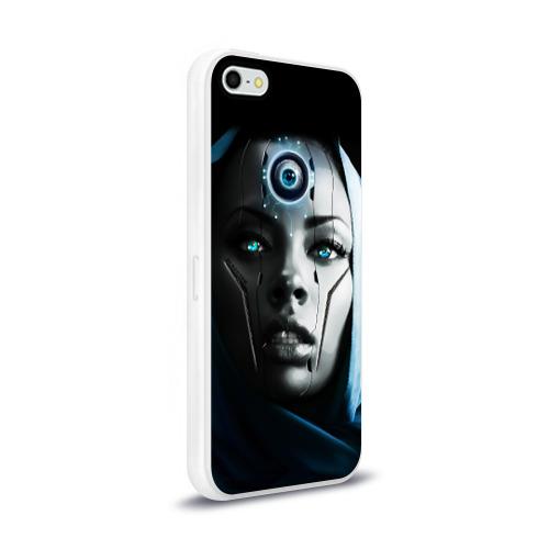 Чехол для Apple iPhone 5/5S силиконовый глянцевый  Фото 02, Девушка андроид