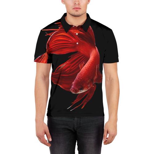 Мужская рубашка поло 3D  Фото 03, Бойцовая рыбка
