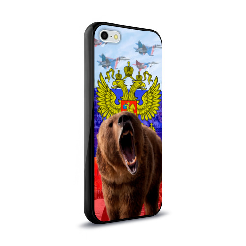 Чехол для Apple iPhone 5/5S силиконовый глянцевый Русский медведь и герб Фото 01