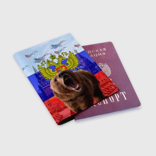 Обложка для паспорта матовая кожа  Фото 03, Русский медведь и герб