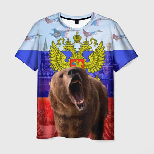 Мужская футболка 3D Русский медведь и герб