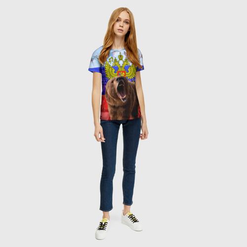 Женская футболка 3D Русский медведь и герб Фото 01