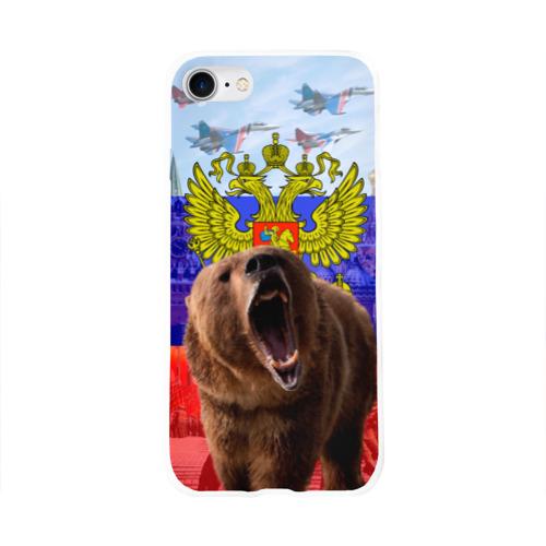 Чехол для Apple iPhone 8 силиконовый глянцевый Русский медведь и герб Фото 01
