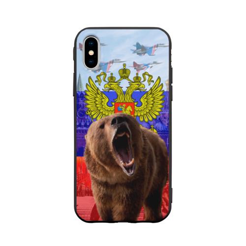 Чехол для Apple iPhone X силиконовый матовый Русский медведь и герб Фото 01