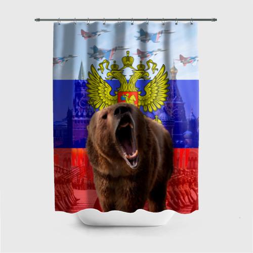 Штора 3D для ванной Русский медведь и герб Фото 01