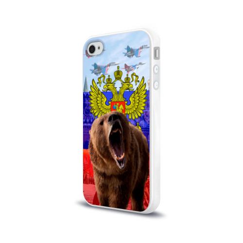 Чехол для Apple iPhone 4/4S силиконовый глянцевый Русский медведь и герб Фото 01