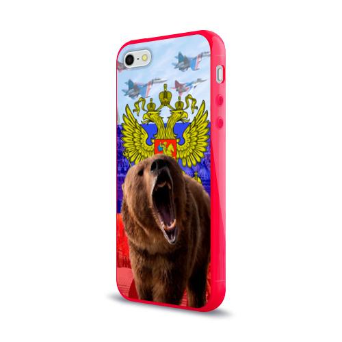 Чехол для iPhone 5/5S глянцевый Русский медведь и герб Фото 01