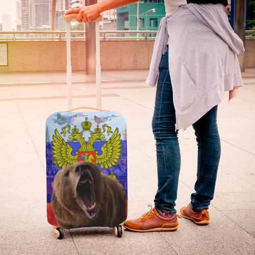 Чехол для чемодана 3D Русский медведь и герб Фото 01