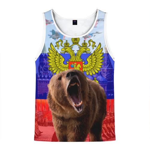 Мужская майка 3D Русский медведь и герб Фото 01
