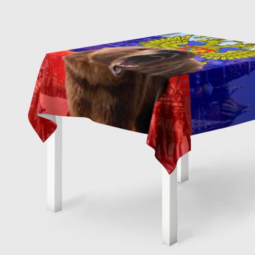 Скатерть 3D Русский медведь и герб Фото 01