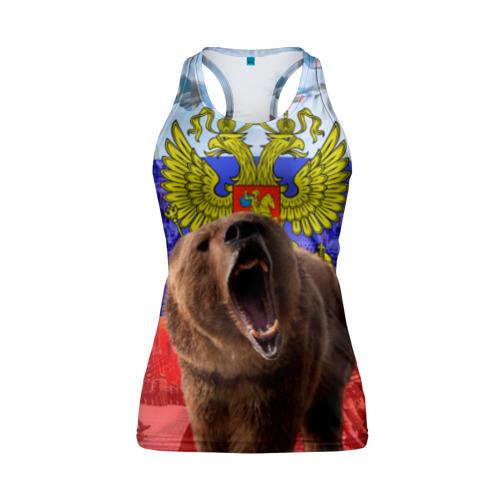 Женская майка 3D спортивная Русский медведь и герб