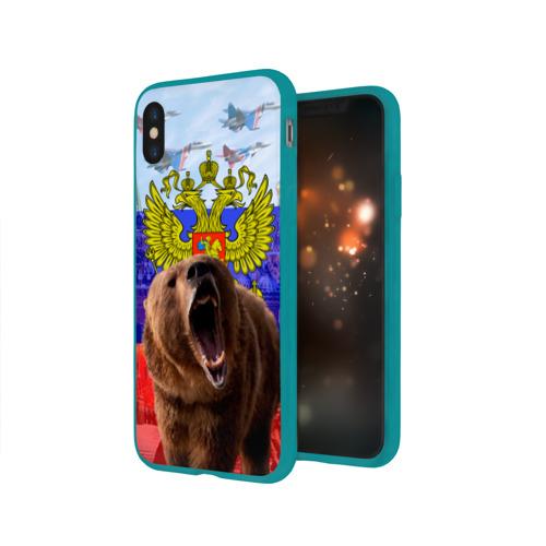 Чехол для Apple iPhone X силиконовый глянцевый Русский медведь и герб Фото 01