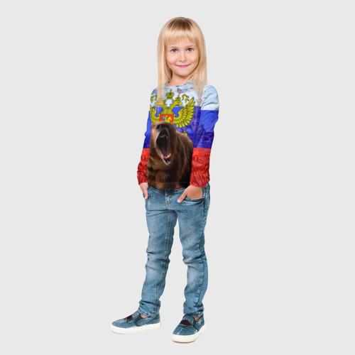 Детский лонгслив 3D Русский медведь и герб Фото 01
