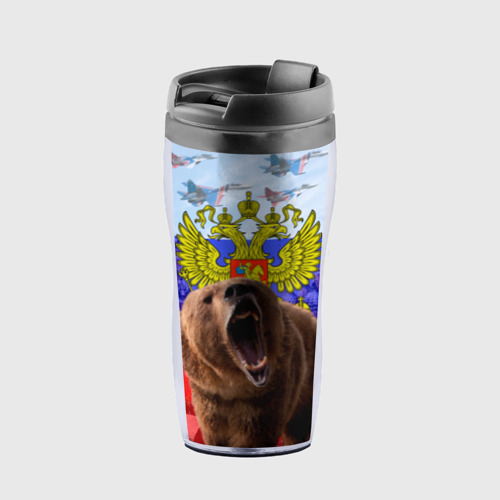 Термокружка-непроливайка Русский медведь и герб Фото 01