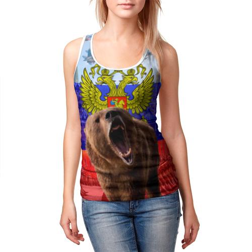 Женская майка 3D Русский медведь и герб Фото 01