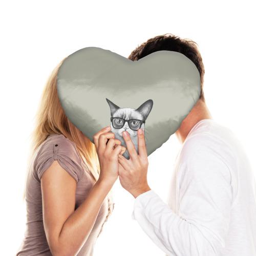 Подушка 3D сердце  Фото 03, Кот - хипстер